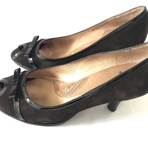 Sofft | Womens Peep Toe Shoes Bow High Heel Brown